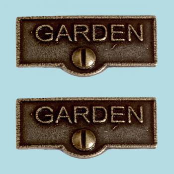 <PRE>2 Switch Plate Tags GARDEN Name Signs Labels Cast Brass </PRE>zoom2