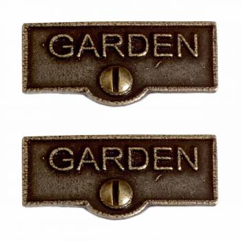 <PRE>2 Switch Plate Tags GARDEN Name Signs Labels Cast Brass </PRE>zoom1