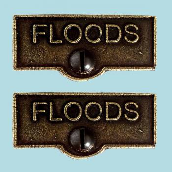 <PRE>2 Switch Plate Tags FLOODS Name Signs Labels Cast Brass </PRE>zoom2