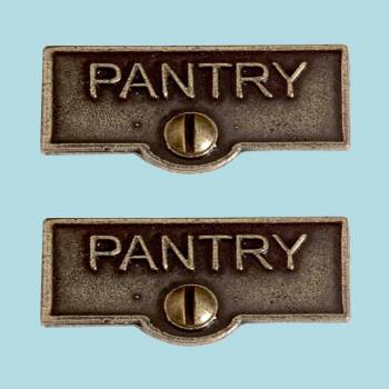 <PRE>2 Switch Plate Tags PANTRY Name Signs Labels Cast Brass </PRE>zoom2