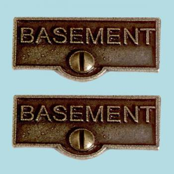 <PRE>2 Switch Plate Tags BASEMENT Name Signs Labels Cast Brass </PRE>zoom2