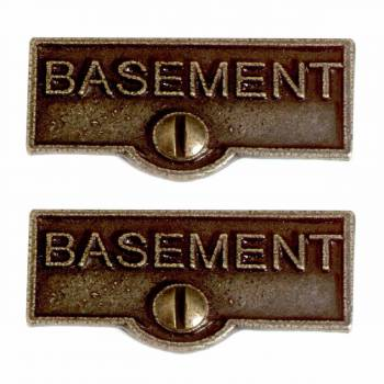 <PRE>2 Switch Plate Tags BASEMENT Name Signs Labels Cast Brass </PRE>zoom1