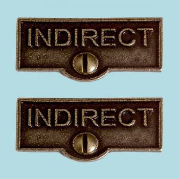 <PRE>2 Switch Plate Tags INDIRECT Name Signs Labels Cast Brass </PRE>zoom2