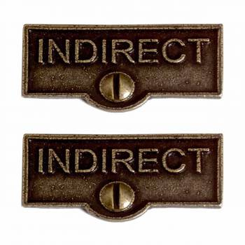 <PRE>2 Switch Plate Tags INDIRECT Name Signs Labels Cast Brass </PRE>zoom1