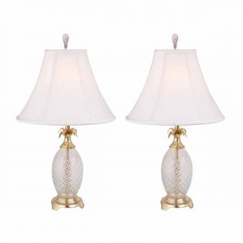 2 Pineapple Lamps Crystal Brass Trim with Shade Set of 2