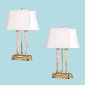 spec-<PRE>Renovator's Supply 2 White 21 Inch Solid Brass Crystal Table Lamp</PRE>