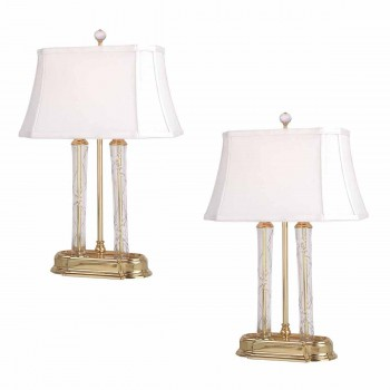 Renovators Supply 2 White 21 Inch Solid Brass Crystal Table Lamp Table Lamp Table Lamp For Living Room Small Table Lamp