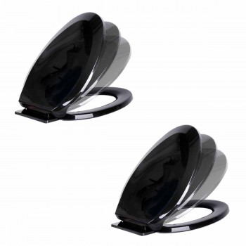 <PRE>2 No Slam Toilet Seat Easy Close Black Plastic Elongated </PRE>zoom1