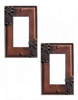2 Switchplate Antique Copper Light Switch Pineapple GFI