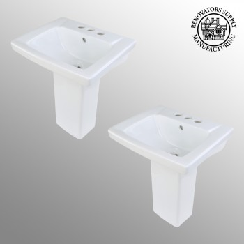 <PRE>2 Children's White Pedestal Sinks Vitreous China Set of 2 </PRE>