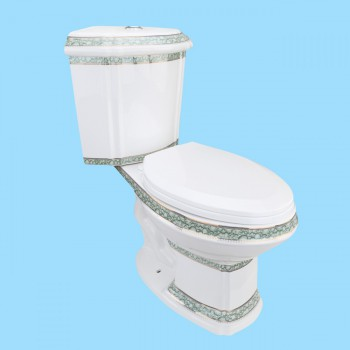 <PRE>Corner Tank Toilet Elongated Green Gold Painted</PRE>zoom2