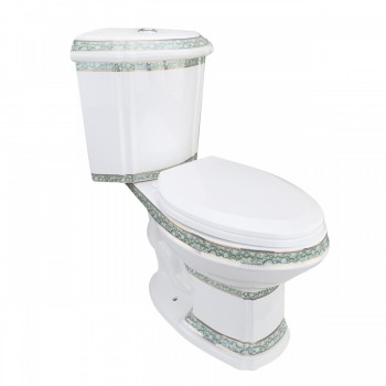 Corner Tank Toilet Elongated Green Gold Painted30688grid