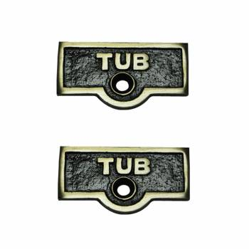 <PRE>Switch Plate Tags TUB Name Signs Labels Antique Brass Set of 2</PRE>zoom1