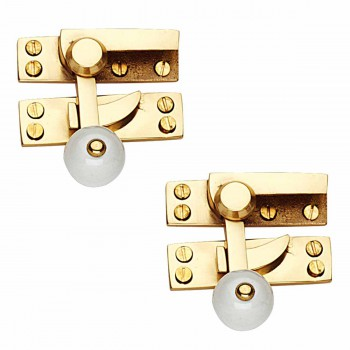 <PRE>2 Traditional Window Sash Lock Solid Brass Porcelain Knob </PRE>
