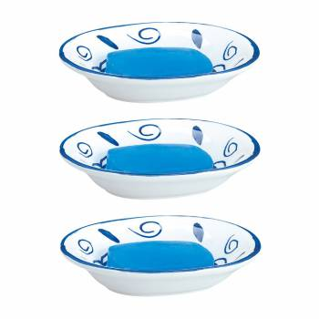 3 Neptune Blue/White Ceramic Bathroom Accessory Soapdish Neptune