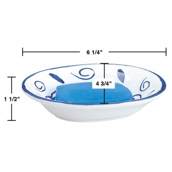 spec-<PRE>3 Bathroom Soap Dishes Blue/White Neptune Ceramic Dish </PRE>