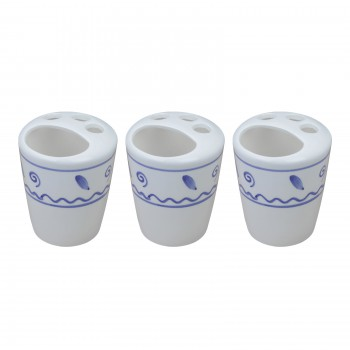 <PRE>3 Bathroom Toothbrush Holders Blue & White Ceramic </PRE>zoom1