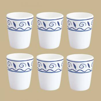 <PRE>6 Bathroom Tumblers Cups White &amp; Blue Nepture Ceramic </PRE>zoom2