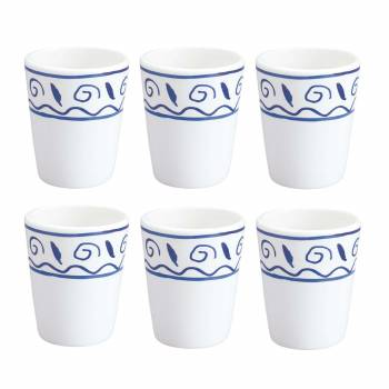 6 Neptune White/Blue Ceramic Cups Bathroom Accessory Neptune Tumbler