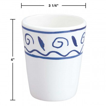 spec-<PRE>6 Bathroom Tumblers Cups White &amp; Blue Nepture Ceramic </PRE>