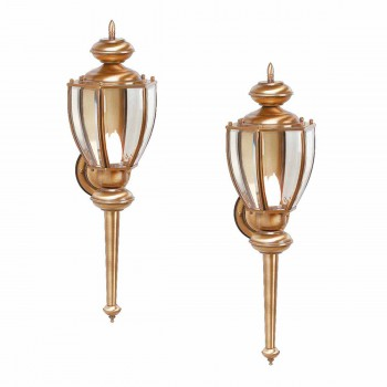 2 Wall Lights Antique Brass Outdoor Light 23