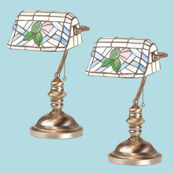 2 Bankers Lamps Stained Glass Antique Brass Set of 2 Lamp Table Lights Lamps