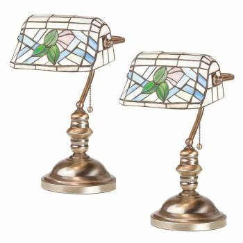 <PRE>2 Banker's Lamps Stained Glass Antique Brass Set of 2 </PRE>