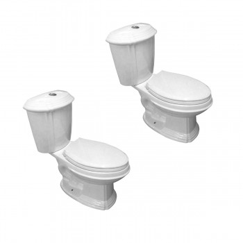 White Porcelain Elongated Push Button Dual Flush Toilet with Seat Set of 2 Modern Round Toilet Dual Flush Toilet Dual Flush Toilet