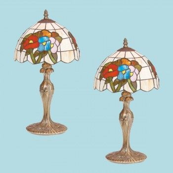 <PRE>2 Table Lamp Antique Brass  Style Stained Glass 19inchH </PRE>zoom2