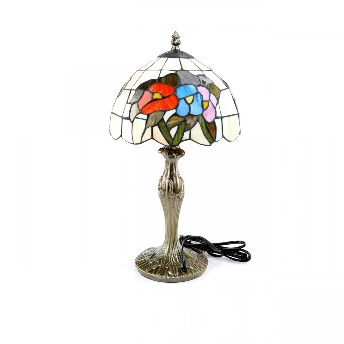 2 Table Lamp Antique Brass  Style Stained Glass 19H Lamp Table Lights Lamps