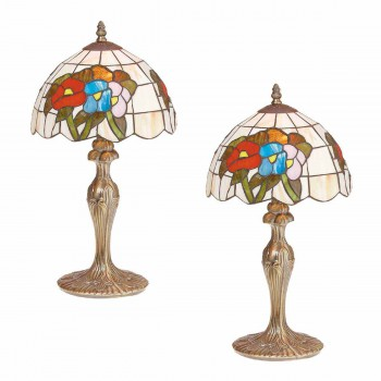 <PRE>2 Table Lamp Antique Brass  Style Stained Glass 19inchH </PRE>zoom1