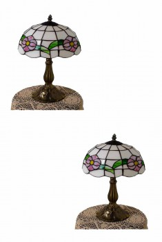 2 Brass Table Lamp Tiffany-Style Lamp 18 3/4 H