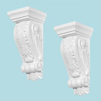 <PRE>2 Fireplace Corbels Victorian Style White Urethane Set of 2 </PRE>