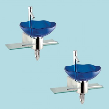 <PRE>2 Small Wall Mount Glass Sink Blue Lotus Combo Package </PRE>zoom2