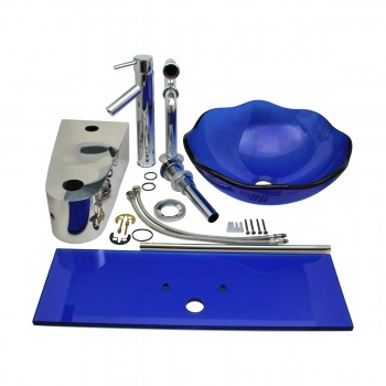2 Small Wall Mount Glass Sink Blue Lotus Combo Package Glass Sink Glass Sinks Glass Bathroom Sink