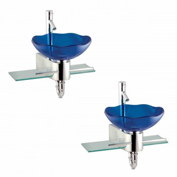 <PRE>2 Small Wall Mount Glass Sink Blue Lotus Combo Package </PRE>zoom1