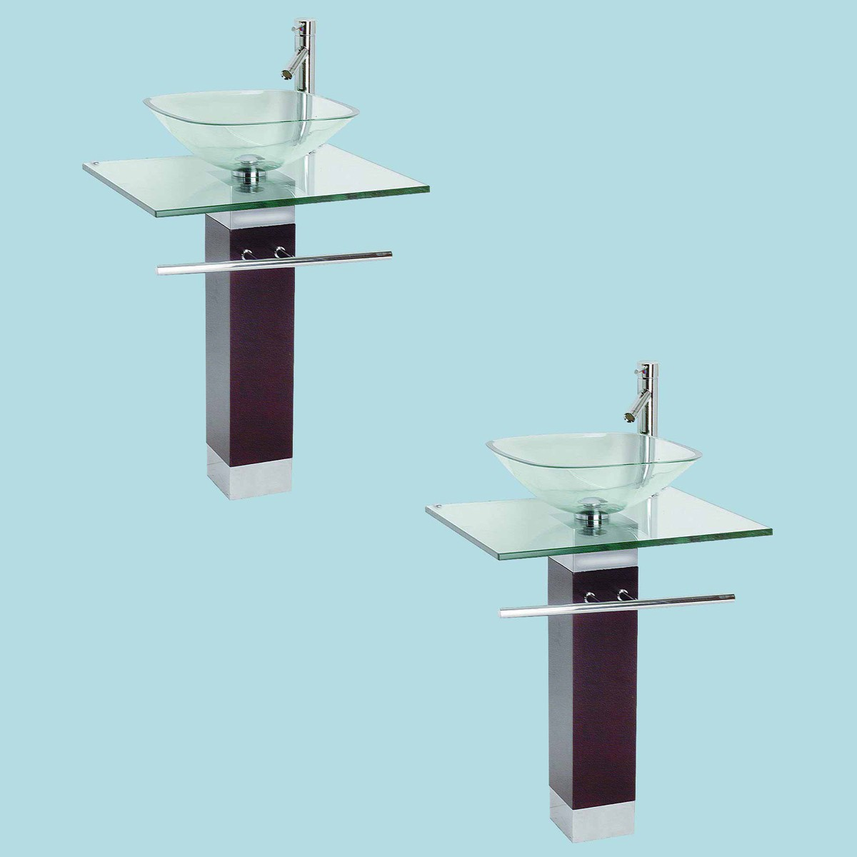 2 Tempered Glass Pedestal Sink Chrome Faucet Towel Bar and Drain ...