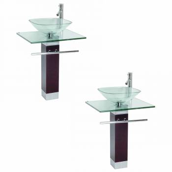 <PRE>2 Tempered Glass Pedestal Sink Chrome Faucet Towel Bar and Drain Combo Pack of 2</PRE>zoom1