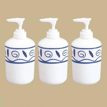<PRE>3 Pcs Porcelain Liquid Soap Pump Dispenser Blue &amp; White </PRE>