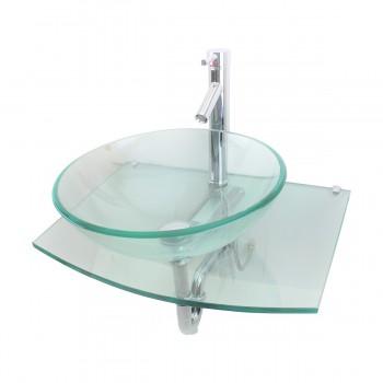 2 Unique Tempered Glass Wall Mount Vessel Sink Clear Durable Set of 2 Glass Vessel Sink Glass Wall Mount Sink Bathroom Sink