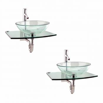 <PRE>2 Unique Tempered Glass Wall Mount Vessel Sink Clear Durable Set of 2</PRE>