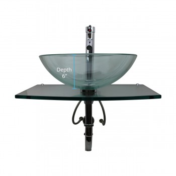 spec-<PRE>2 Unique Tempered Glass Wall Mount Vessel Sink Clear Durable Set of 2</PRE>