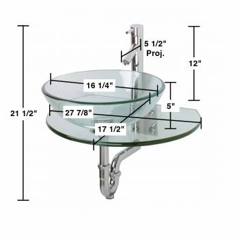 spec-<PRE>Unique Wall Mount Console Sink Clear Durable Tempered Glass Set of 2</PRE>