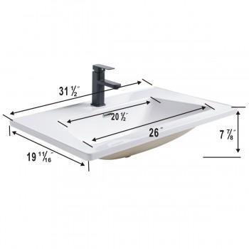 "spec-<PRE>Duke 31 1/2"" Square Drop-In Bathroom Sink Self Rimming with Overflow  </PRE>"