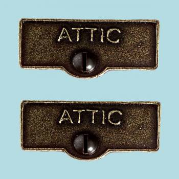 <PRE>2 Switch Plate Tags ATTIC Name Signs Labels Cast Brass </PRE>zoom2