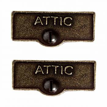<PRE>2 Switch Plate Tags ATTIC Name Signs Labels Cast Brass </PRE>zoom1