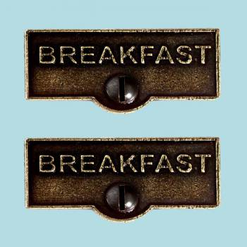 <PRE>2 Switch Plate Tags BREAKFAST Name Signs Labels Cast Brass </PRE>zoom2