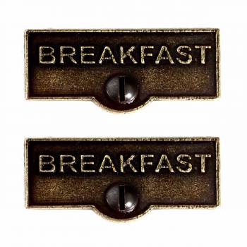 <PRE>2 Switch Plate Tags BREAKFAST Name Signs Labels Cast Brass </PRE>zoom1