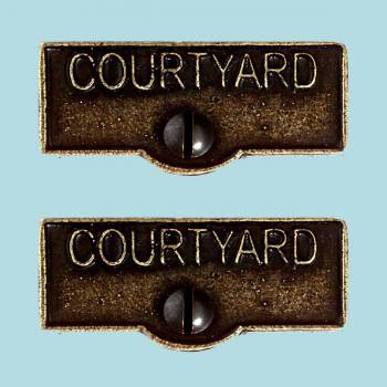 <PRE>2 Switch Plate Tags COURTYARD Name Signs Labels Cast Brass </PRE>zoom2