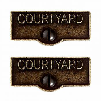 <PRE>2 Switch Plate Tags COURTYARD Name Signs Labels Cast Brass </PRE>zoom1